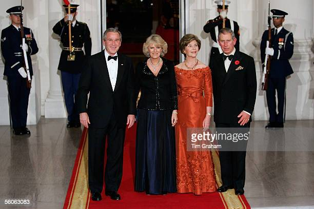 Prince Charles Prince of Wales and Camilla Duchess of Cornwall pose with President George W Bush and First Lady Laura Bush at a dinner held at the...