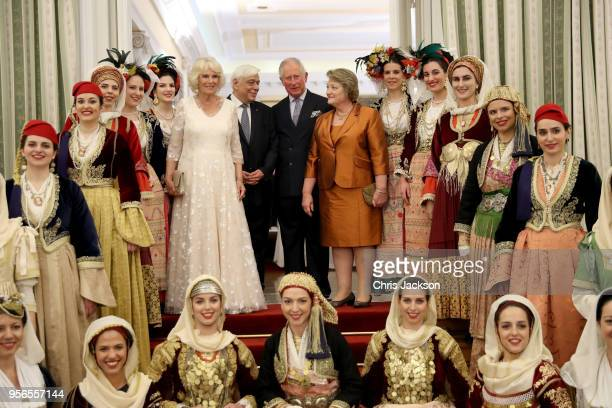 Prince Charles Prince of Wales and Camilla Duchess of Cornwall pose with the President of Greece Prokopis Pavlopoulos and his wife Vlassia...
