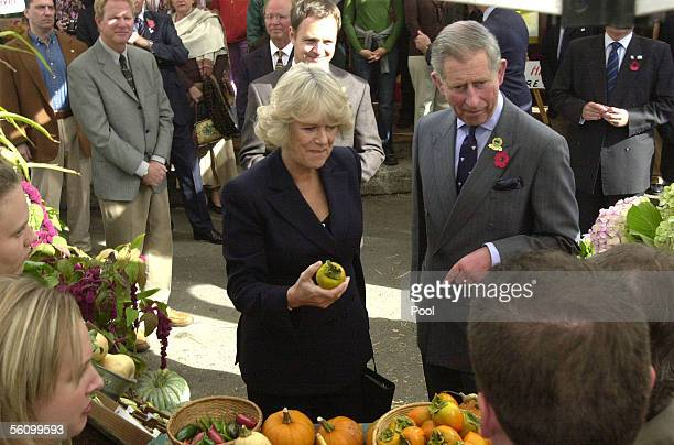 Prince Charles Prince of Wales and Camilla Duchess of Cornwall sample organic persimmons as they tour the West Marin Farmer's Market during their...