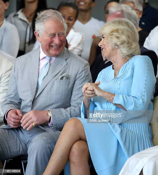 Prince Charles Prince of Wales and Camilla Duchess of Cornwall share a joke during a visit to the Acosta Dance Company on March 25 2019 in Havana...