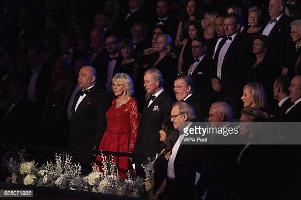 Prince Charles Prince of Wales and Camilla Duchess of Cornwall take their seats during the Royal Variety Performance at Eventim Apollo on December 6...