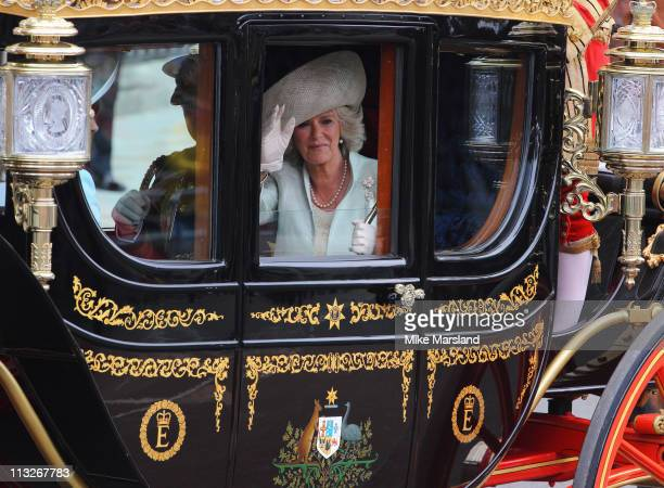 Prince Charles, Prince of Wales and Camilla, Duchess of Cornwall departs the Royal Wedding of Prince William to Catherine Middleton at Westminster...