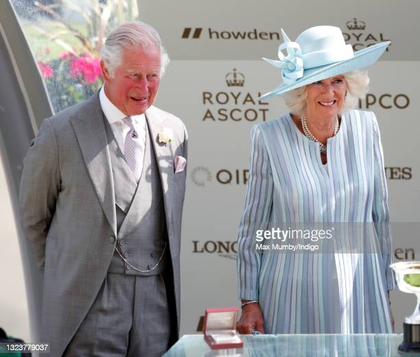 Prince Charles, Prince of Wales and Camilla, Duchess of Cornwall present the prizes to the winners of the St James's Palace stakes on day 1 of Royal...