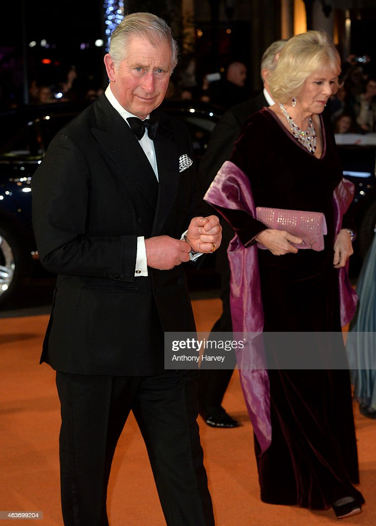 Prince Charles, Prince of Wales, and Camilla, Duchess of Cornwall attends The Royal Film Performance and World Premiere of 'The Second Best Exotic Marigold Hotel' at Odeon Leicester Square on February 17, 2015 in London, England.