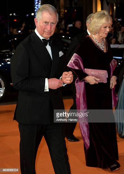 """Prince Charles, Prince of Wales, and Camilla, Duchess of Cornwall attends The Royal Film Performance and World Premiere of """"The Second Best Exotic..."""
