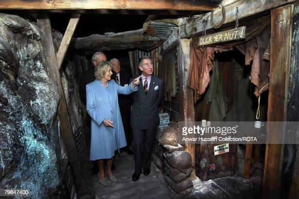 Prince Charles Prince of Wales and Camilla Duchess of Cornwall tour reconstructed World War I trenches at the Royal Leicestershire Regiment Museum...