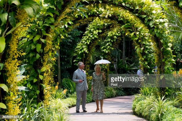 Prince Charles Prince of Wales and Camilla Duchess of Cornwall tour the Golden Arches in the National Orchid Garden at the National Botanical Gardens...