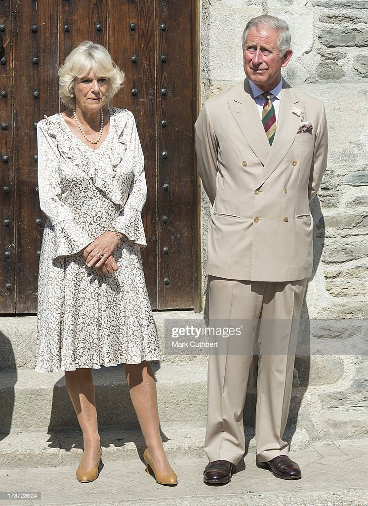 Prince Charles, Prince of Wales and Camilla, Duchess of Cornwall, unveil a plaque to mark the restoration of The Duchy Palace, on a visit to Lostwithiel on July 17, 2013 in Cornwall, England.