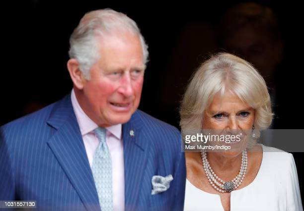 Prince Charles Prince of Wales and Camilla Duchess of Cornwall visit the newly refurbished 'Maiden' Yacht at HMS President on September 5 2018 in...