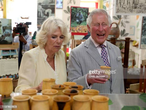 Prince Charles Prince of Wales and Camilla Duchess of Cornwall visit a chocolate house in Grenada on March 23 2019 in Saint George's Grenada