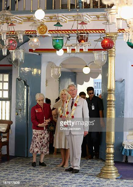 Prince Charles Prince of Wales and Camilla Duchess of Cornwall visit the Jewish Synagogue on his 65th birthday during a visit to Jew Town on day 9 of...