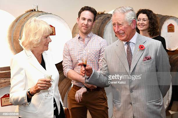 Prince Charles, Prince of Wales and Camilla, Duchess of Cornwall visit Seppeltsfield Winery on November 10, 2015 in Barossa Valley, Australia. The...