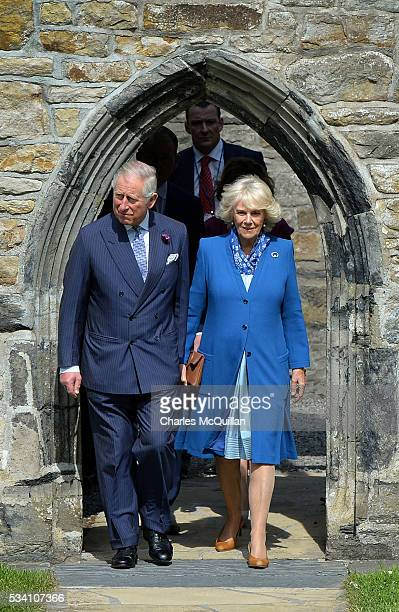 Prince Charles Prince of Wales and Camilla Duchess of Cornwall visit Donegal Castle on May 25 2016 in Letterkenny Ireland The royal couple are on a...