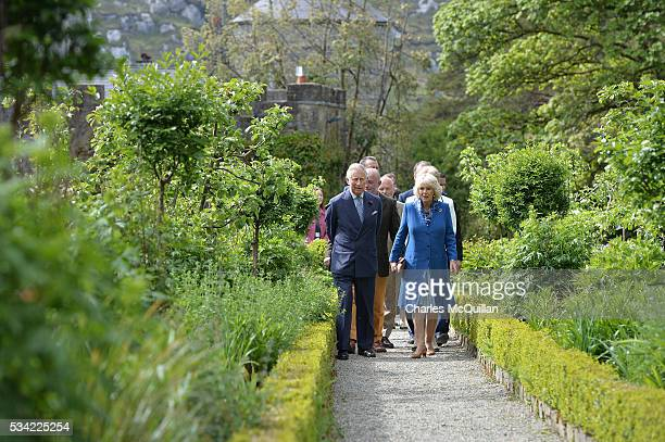 Prince Charles Prince of Wales and Camilla Duchess of Cornwall visit Glenveagh Castle on May 25 2016 in Letterkenny Ireland The royal couple are on a...