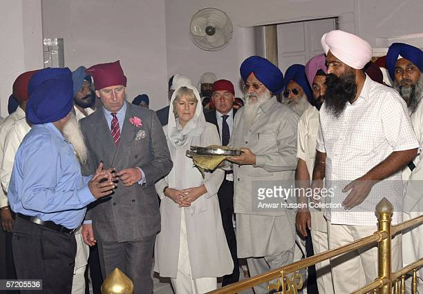 Prince Charles Prince of Wales and Camilla Duchess of Cornwall visit the Anadpur Sahib Gurdwara on the eighth day of a 12 day official tour visiting...