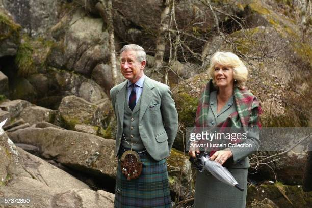 Prince Charles Prince of Wales and Camilla Duchess of Cornwall visit Muir of Dinnet National Nature Reserve on April 20 2006 on Royal Deeside in...