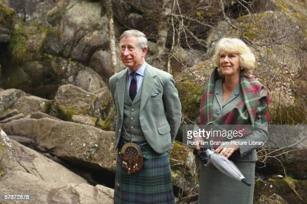 Prince Charles Prince of Wales and Camilla Duchess of Cornwall visit Muir of Dinnet National Nature Reserve on Royal Deeside during their private...