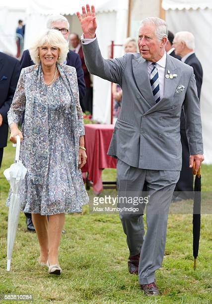 Prince Charles Prince of Wales and Camilla Duchess of Cornwall visit the Sandringham Flower Show at Sandringham House on July 27 2016 in King's Lynn...
