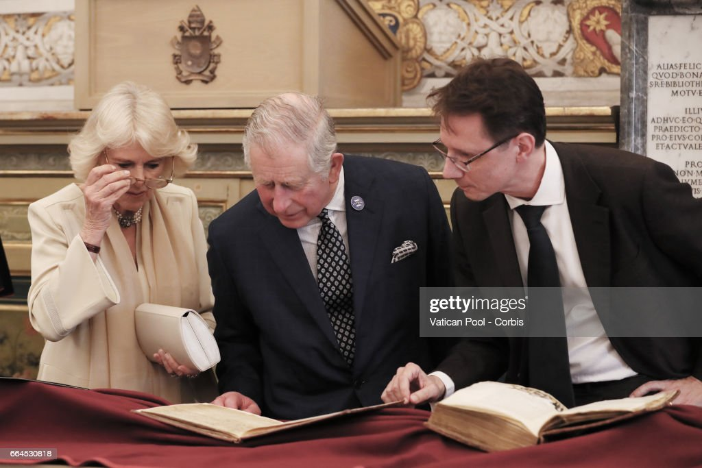 Prince Charles, Prince of Wales and Camilla, Duchess of Cornwall visit the Vatican Apostolic Library before a private audience with Pope Francis at the Vatican on April 4, 2017 in Vatican City, Vatican. The royal couple ihave been in Italy for a five-day visit during which they visited the city of Florence, Camilla visited the city of Naples and the ancient archaeological site of Herculaneum, while Prince Charles, visited Amatrice, the town devastated by a 6.0 magnitude earthquake and where 297 people died last summer.