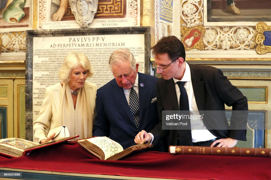 Prince Charles, Prince of Wales and Camilla, Duchess of Cornwall visit the Apostolic library on April 4, 2017 in Vatican City, Vatican. Prince of Wales and Duchess of Cornwall are in Italy for a six day visit.