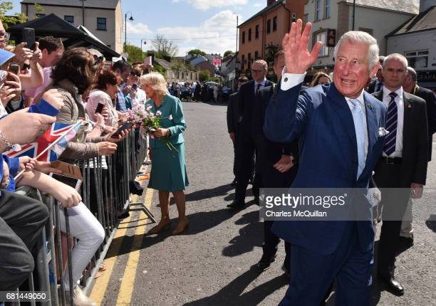 Prince Charles Prince of Wales and Camilla Duchess of Cornwall visit the village market on May 10 2017 in Dromore Northern Ireland Their Royal...