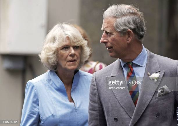 Prince Charles Prince of Wales and Camilla Duchess of Cornwall visit Cardigan Castle and the Garrison Chapel in Pembroke Dock on July 3 2006 in Wales