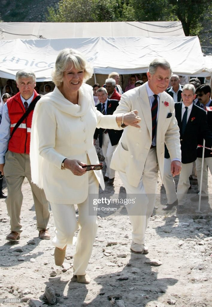 Prince Charles, Prince of Wales and Camilla, Duchess of Cornwall visit the Unicef aid camp in the earthquake devastated village of Pattika in the Azad Jammu Kashir region which was mostly destroyed a year ago, on November 1, 2006 in Pakistan.