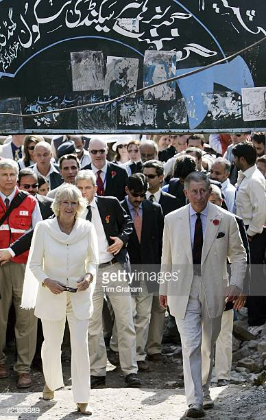 Prince Charles Prince of Wales and Camilla Duchess of Cornwall visit the earthquake devastated village of Pattika in the Azad Jammu Kashir region on...