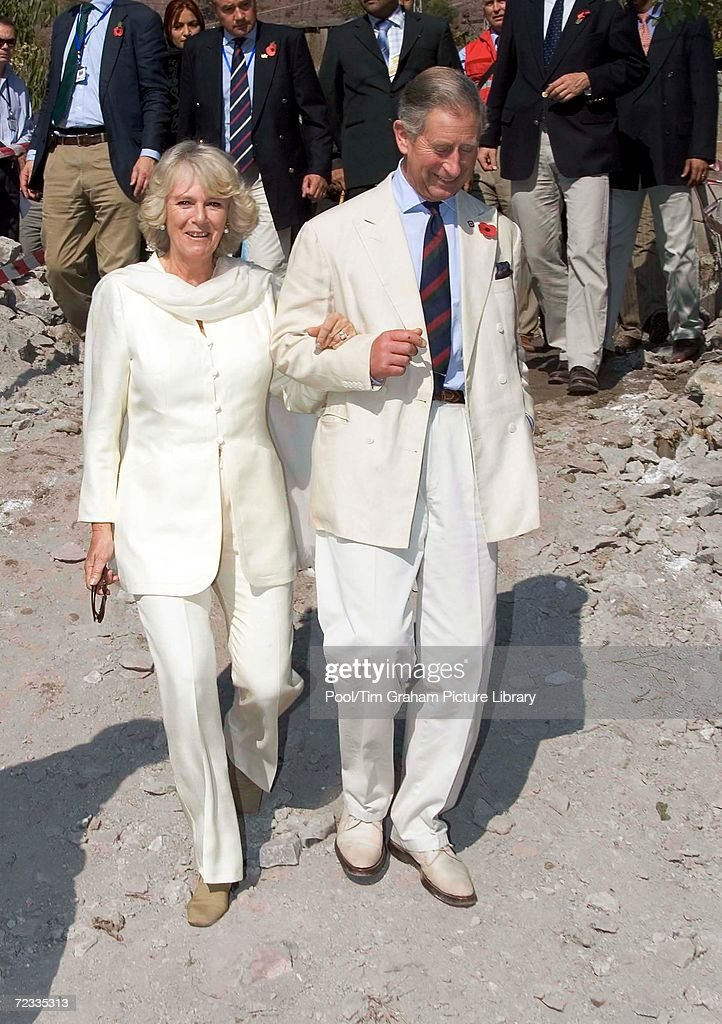 Prince Charles, Prince of Wales and Camilla, Duchess of Cornwall visit the earthquake devastated village of Pattika in the Azad Jammu Kashir region on November 1, 2006 in Pakistan.