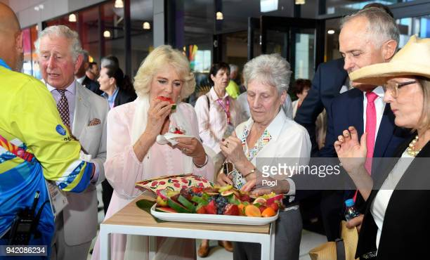 Prince Charles Prince of Wales and Camilla Duchess of Cornwall visit Athlete's Village with Australian Prime Minister Malcolm Turnbull and wife Lucy...