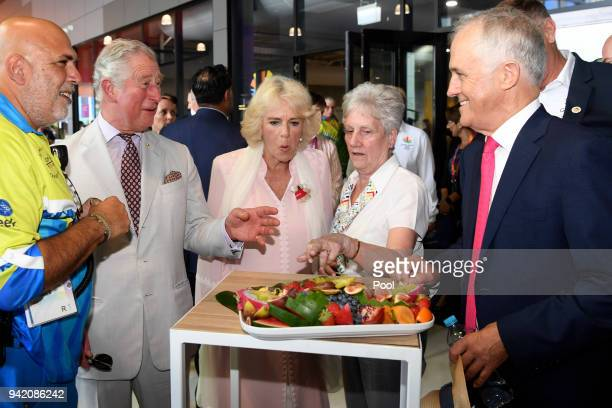 Prince Charles Prince of Wales and Camilla Duchess of Cornwall visit Athlete's Village with Australian Prime Minister Malcolm Turnbull on April 5...