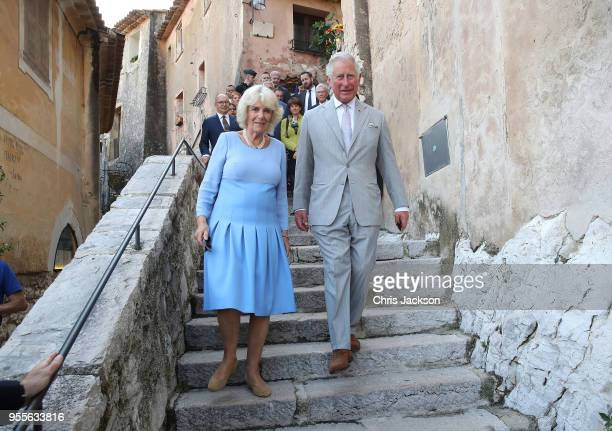 Prince Charles Prince of Wales and Camilla Duchess of Cornwall visit Eze Village on May 7 2018 in Eze France Prince Charles Prince of Wales and...