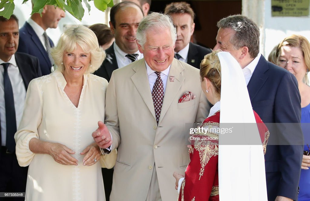 Prince Charles, Prince of Wales and Camilla, Duchess Of Cornwall visit Church Square on May 11, 2018 in Crete, Greece.
