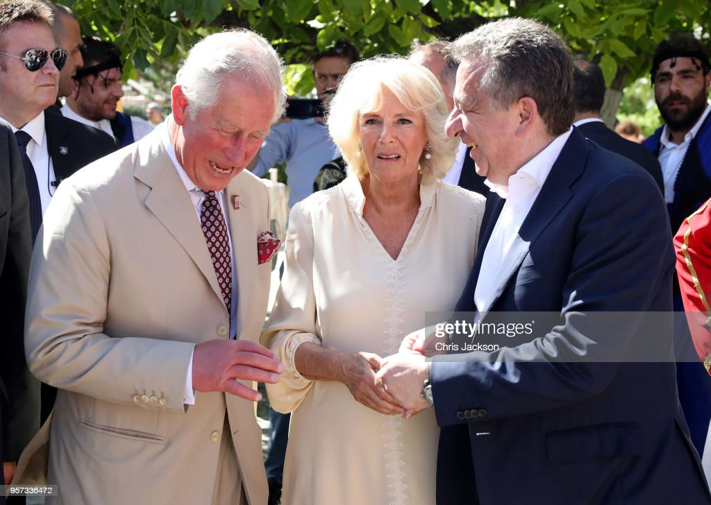 Prince Charles, Prince of Wales and Camilla, Duchess of Cornwall visit Church Square, accompanied by Governor of Crete Stavros Arnaoutakis on May 11, 2018 in Crete, Greece.