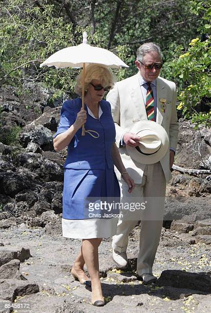 Prince Charles Prince of Wales and Camilla Duchess of Cornwall walk at the Darwin Research Station on Santa Cruz Island on March 16 2009 in Galapagos...
