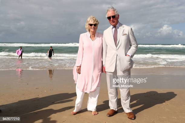 Prince Charles, Prince of Wales and Camilla, Duchess of Cornwall walk on Broadbeach on April 5, 2018 in Gold Coast, Australia. The Prince of Wales...