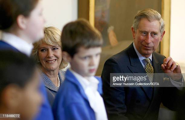 Prince Charles, Prince of Wales and Camilla, Duchess of Cornwall watch a drama performance during a visit to the Jewish Museum in London to celebrate...
