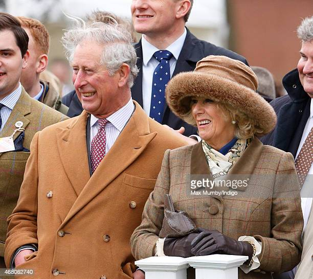 Prince Charles Prince of Wales and Camilla Duchess of Cornwall watch the 'Campaign for Wool Lamb National' sheep race as they attend The Prince's...