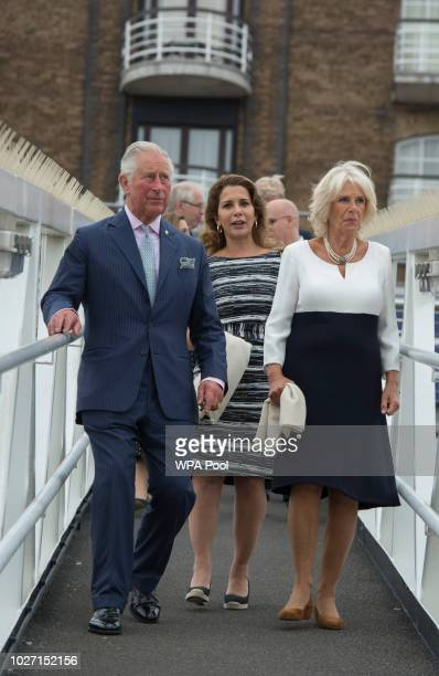 Prince Charles Prince of Wales and Camilla Duchess of Cornwall with Princess Haya Bint Al Hussein visit the newly refurbished 'Maiden' Yacht on...
