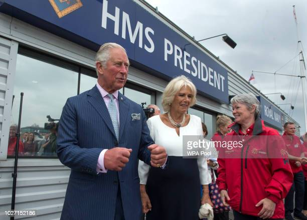 Prince Charles Prince of Wales and Camilla Duchess of Cornwall with original skipper Tracy Edwards MBE leave HMS President after their visit to the...