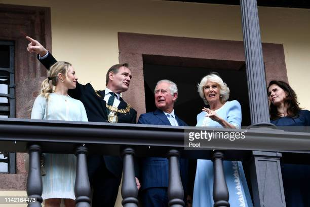 Prince Charles Prince of Wales and Camilla Duchess of Cornwall with Saxony Premier Michael Kretschmer and his wife Annett Hofmann Leipzig Mayor...
