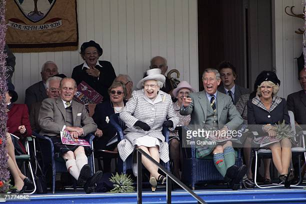 Prince Charles Prince of Wales and Camilla Duchess of Cornwall with Queen Elizabeth II and Prince Philip Duke of Edinburgh laugh at their Balmoral...