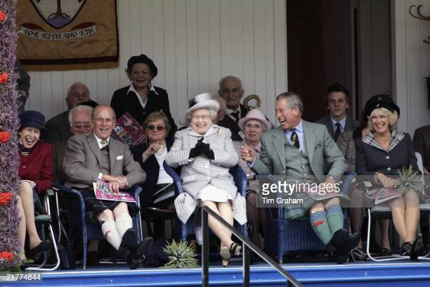 Prince Charles Prince of Wales and Camilla Duchess of Cornwall with Queen Elizabeth II and Prince Philip Duke of Edinburgh and Princess Anne the...