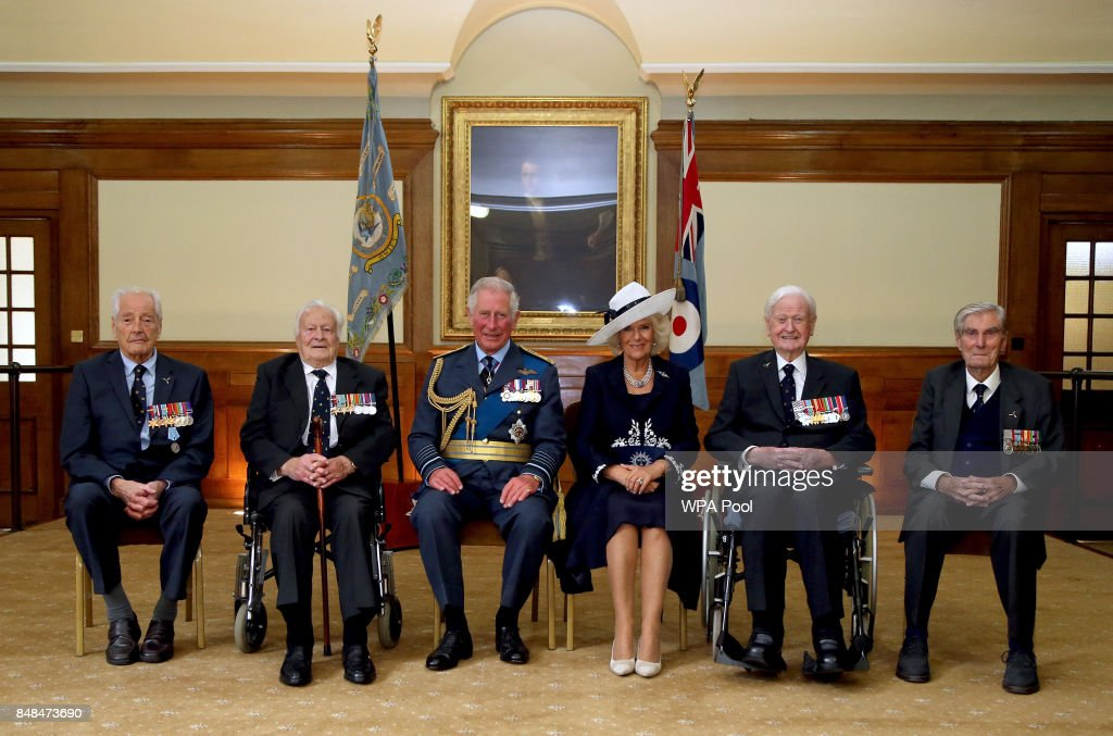 Prince Charles, Prince of Wales and Camilla, Duchess of Cornwall with Battle of Britain veterans (L-R) Wing Commander Tim Elkington, Squadron Leader Geoffrey Wellum, Wing Commander Tom Neil and Wing Commander Paul Farnes during a reception following a service marking the 77th anniversary of the Battle of Britain at Westminster Abbey on September 17, 2017 in London, England. The annual service remembers the pilots and aircrew of the Royal Air Force who lost their lives in the 1940 Battle of Britain during World War II.