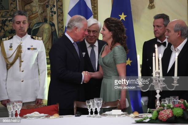 Prince Charles Prince of Wales and Camilla Duchess of Cornwall with the President of Greece Prokopis Pavlopoulos and his wife Vlassia Pavlopoulou...