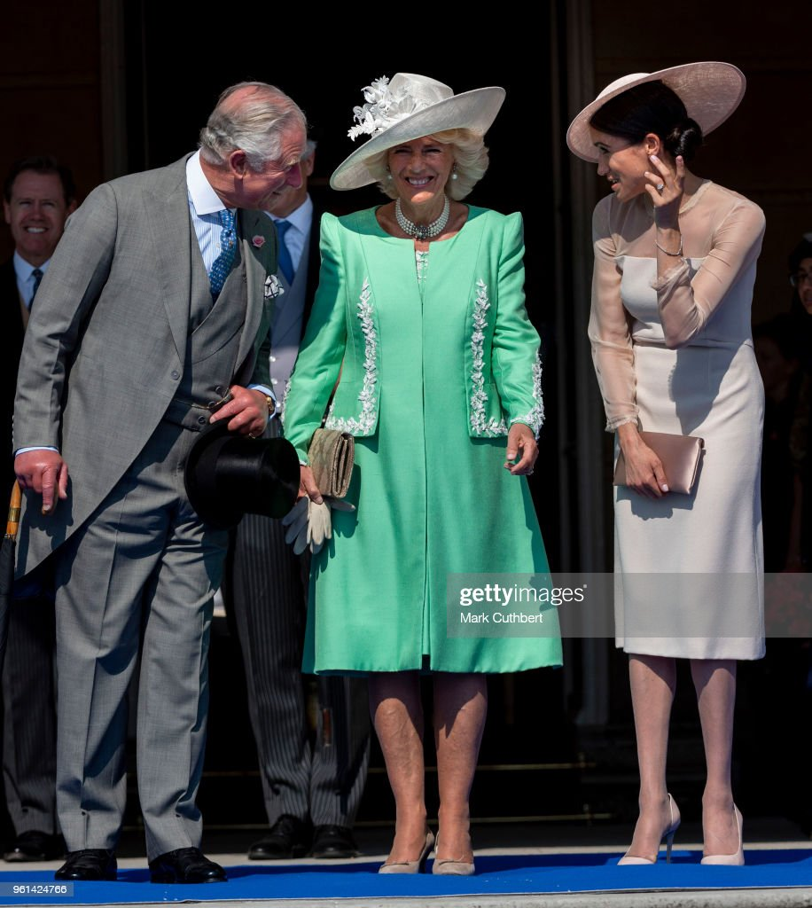 Prince Charles, Prince of Wales and Camilla, Duchess of Cornwall with Meghan, Duchess of Sussex during The Prince of Wales' 70th Birthday Patronage Celebration held at Buckingham Palace on May 22, 2018 in London, England.