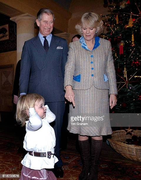 JANUARY 2006*** Prince Charles Prince of Wales and Camilla Duchess of Cornwall with Jasmine Sumner in the Orchard Room at Highgrove House Ten...