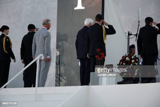 Prince Charles Prince of Wales and Canada Governor General David Johnston laid a wreath during the official ceremony for the Commemoration of the...