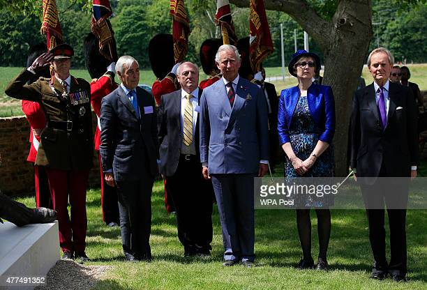 Prince Charles Prince of Wales and Charles Wellesley The 9th Duke of Wellington observe a bugler playing 'the Last Post' during a ceremony held at...