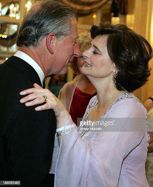 Prince Charles, Prince of Wales and Cherie Blair greet each other with a kiss at the Asian Women Of Achievement Awards at the London Hilton on May...